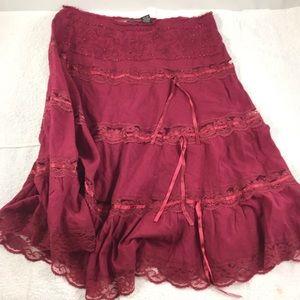 MD Burgundy Peasant Pirate Dress